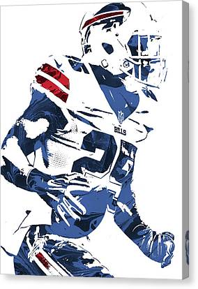 Lesean Mccoy Buffalo Bills Pixel Art 3 Canvas Print by Joe Hamilton