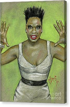 Canvas Print featuring the drawing Leslie Jones by P J Lewis