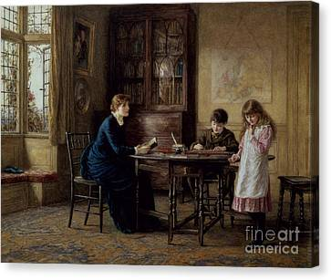 Reading Canvas Print - Lessons by Helen Allingham