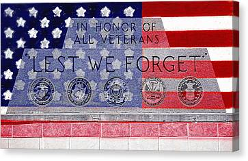 Lest We Forget With Flag Graphic Canvas Print by Steve Ohlsen