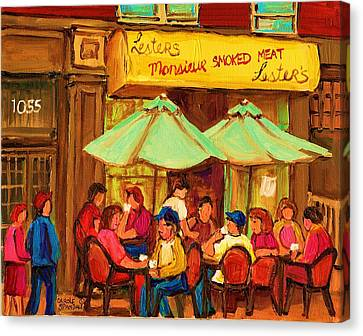 Lesters Monsieur Smoked Meat Canvas Print by Carole Spandau