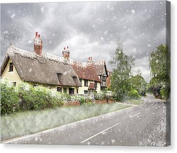 Old Country Roads Canvas Print - Let It Snow - Essex Country Roads by Gill Billington