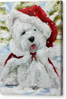 West Highland Canvas Print - Let It Snow by Mary Sparrow