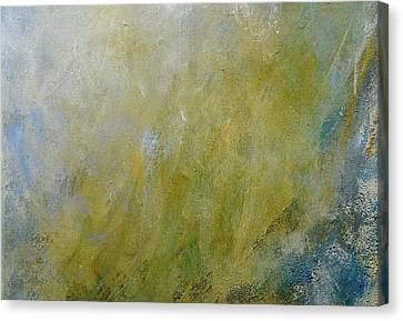 Silver Turquoise Canvas Print - Let The Earth Bring Forth Grass by Laurie Hein