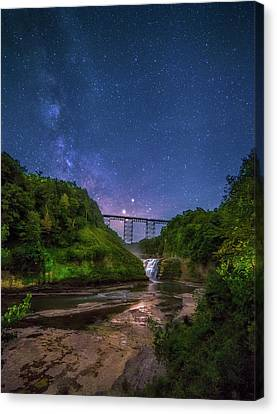 Canvas Print featuring the photograph Letchworth At Night by Mark Papke
