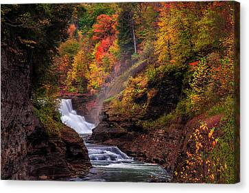 Beauty Mark Canvas Print - Letchworth Lower Falls 2 by Mark Papke