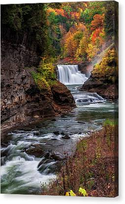 Letchworth State Park Lower Falls Canvas Print by Mark Papke
