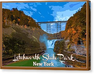 Letchworth State Park Vintage Travel Poster Canvas Print by Rick Berk