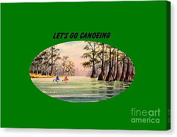 Canvas Print featuring the painting Let's Go Canoeing by Bill Holkham