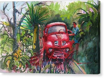 Let's Go Surfin', Red Canvas Print