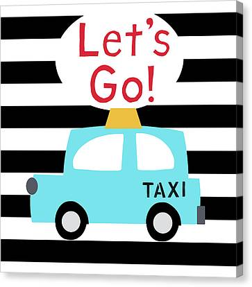 Juvenile Art Canvas Print - Let's Go Taxi- Art By Linda Woods by Linda Woods