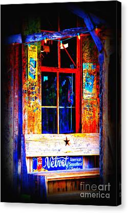 Let's Go To Luckenbach Texas Canvas Print by Susanne Van Hulst