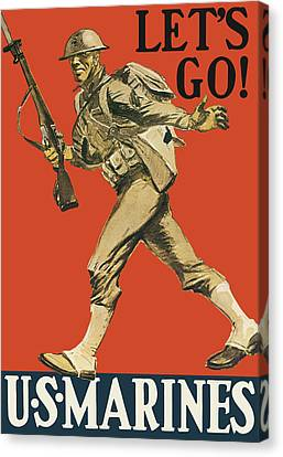Let's Go - Vintage Marine Recruiting Canvas Print by War Is Hell Store