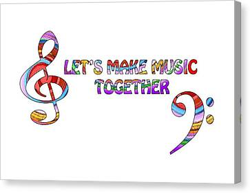 Let's Make Music Together - White Canvas Print by Gill Billington