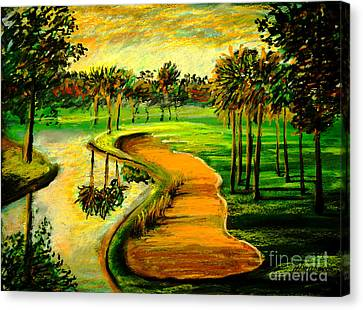 Canvas Print featuring the painting Let's Play Golf by Patricia L Davidson