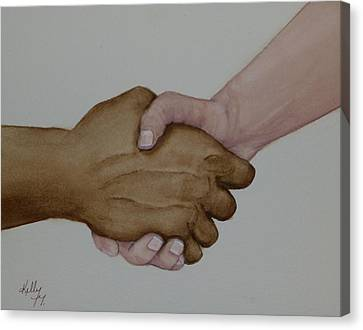 Let's Shake Hands On It Canvas Print by Kelly Mills