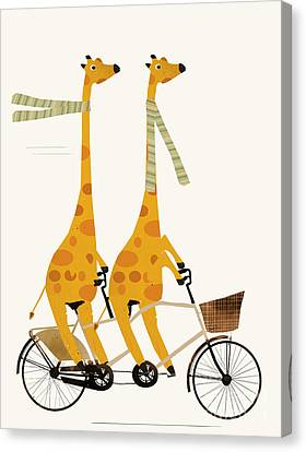Canvas Print featuring the painting Lets Tandem Giraffes by Bri B