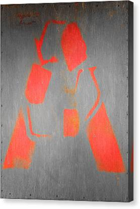 Letter A Red On Steel Canvas Print
