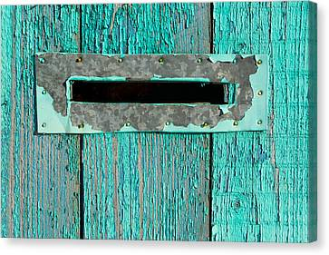 Canvas Print featuring the photograph Letter Box On Blue Wood by John Williams