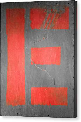 Letter E Red On Steel Canvas Print