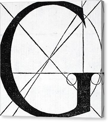 Divine Proportions Canvas Print - Letter G by Leonardo Da Vinci