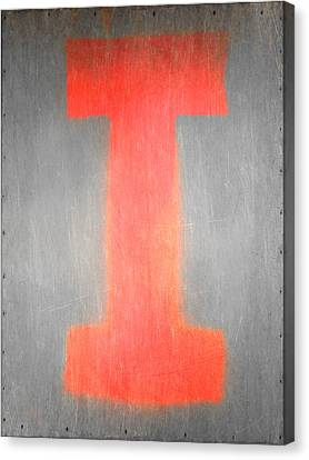 Letter I Red On Steel Canvas Print