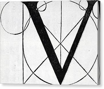 Divine Proportions Canvas Print - Letter V by Leonardo Da Vinci