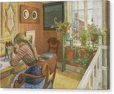Letter-writing Canvas Print by Carl Larsson