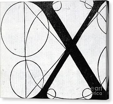 Divine Proportions Canvas Print - Letter X by Leonardo Da Vinci