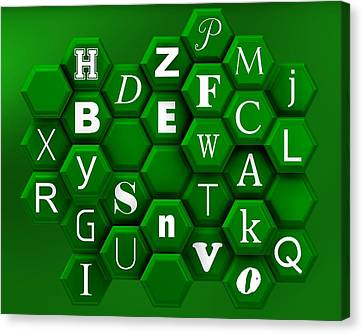 Cool Canvas Print - Letters Over Green Hexagons. by Alberto RuiZ