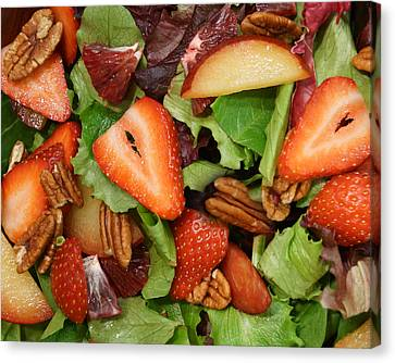 Canvas Print featuring the digital art Lettuce Strawberry Plum Salad by Jana Russon