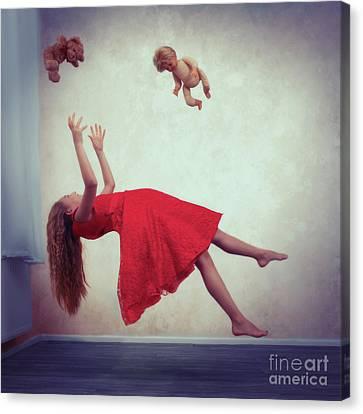 Backward Canvas Print - Levitation With Toys by Amanda Elwell
