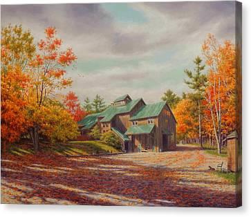 Midnight Canvas Print - Levon Helm Studios Legendary Ramble Barn by Barry DeBaun