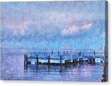 Canvas Print featuring the mixed media Lewes Pier by Trish Tritz