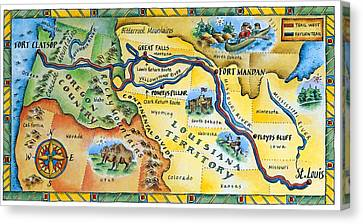 Lewis & Clark Expedition Map Canvas Print by Jennifer Thermes