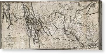 Montana State Map Canvas Print - Lewis And Clark Hand-drawn Map Of The Unknown  1804 by Daniel Hagerman