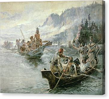 Pacific Coast States Canvas Print - Lewis And Clark On The Lower Columbia River by Charles Marion Russell