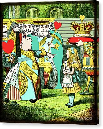 Lewis Carrolls Alice, Red Queen And Cards Canvas Print by Marian Cates