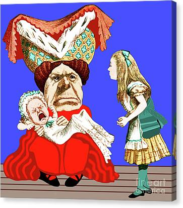 Canvas Print featuring the painting Lewis Carrolls Alice, Red Queen And Crying Infant by Marian Cates