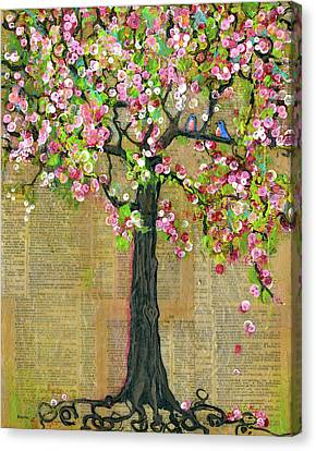 Dictionary Canvas Print - Lexicon Tree Of Life 4 by Blenda Studio