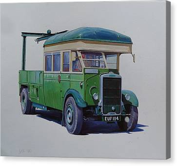 Canvas Print featuring the painting Leyland Southdown Wrecker. by Mike Jeffries