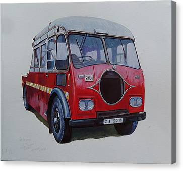 Canvas Print featuring the painting Leyland Wrecker Cie by Mike Jeffries