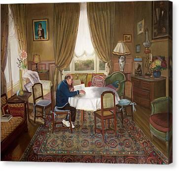 L'homme Qui Lit Canvas Print by Dominique Amendola