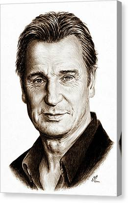 Liam Neeson Sepia Canvas Print by Andrew Read