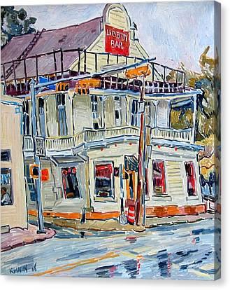 Liberty Bar In San Antonio. Rainy Day. Canvas Print by Vitali Komarov