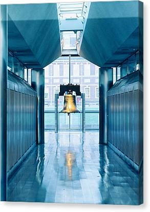 Liberty Bell Hanging In A Corridor Canvas Print by Panoramic Images