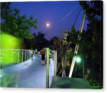 Liberty Bridge At Night Greenville South Carolina Canvas Print by Flavia Westerwelle