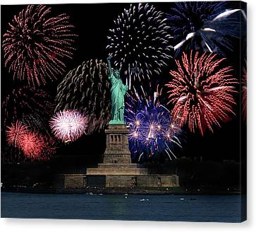 Liberty Fireworks 1 Canvas Print by BuffaloWorks Photography