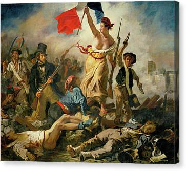 Canvas Print featuring the painting Liberty Leading The People By Eugene Delacroix 1830 by Movie Poster Prints
