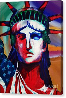 Liberty Of Statue New York 98jhm Canvas Print by Gull G